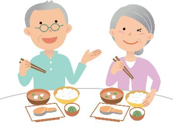 老夫婦の食事